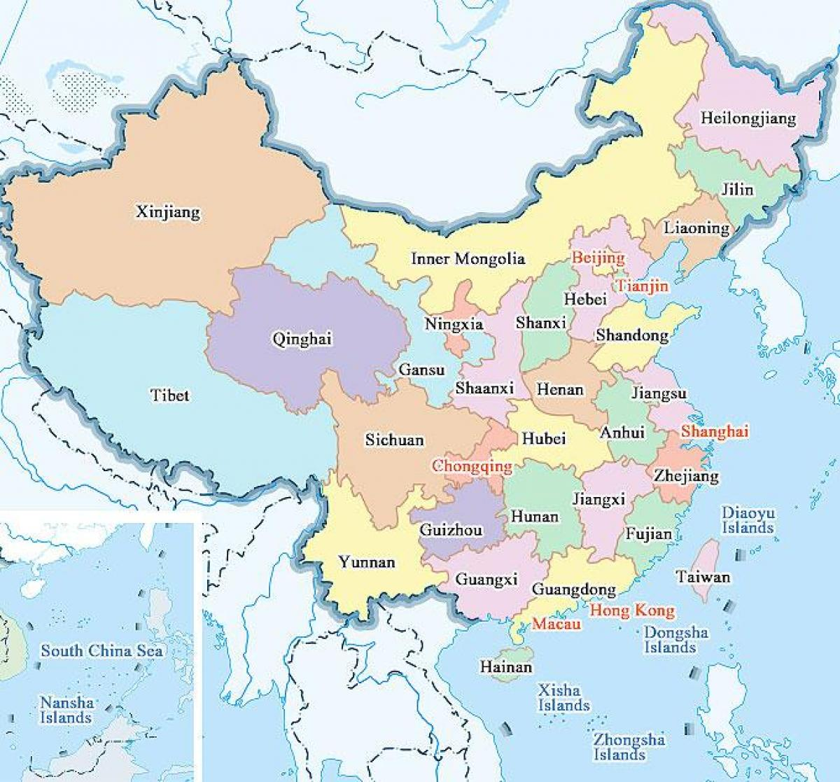 kina kart Kart av Kinas provinser og byer   Kina kart byer og provinser (Øst  kina kart