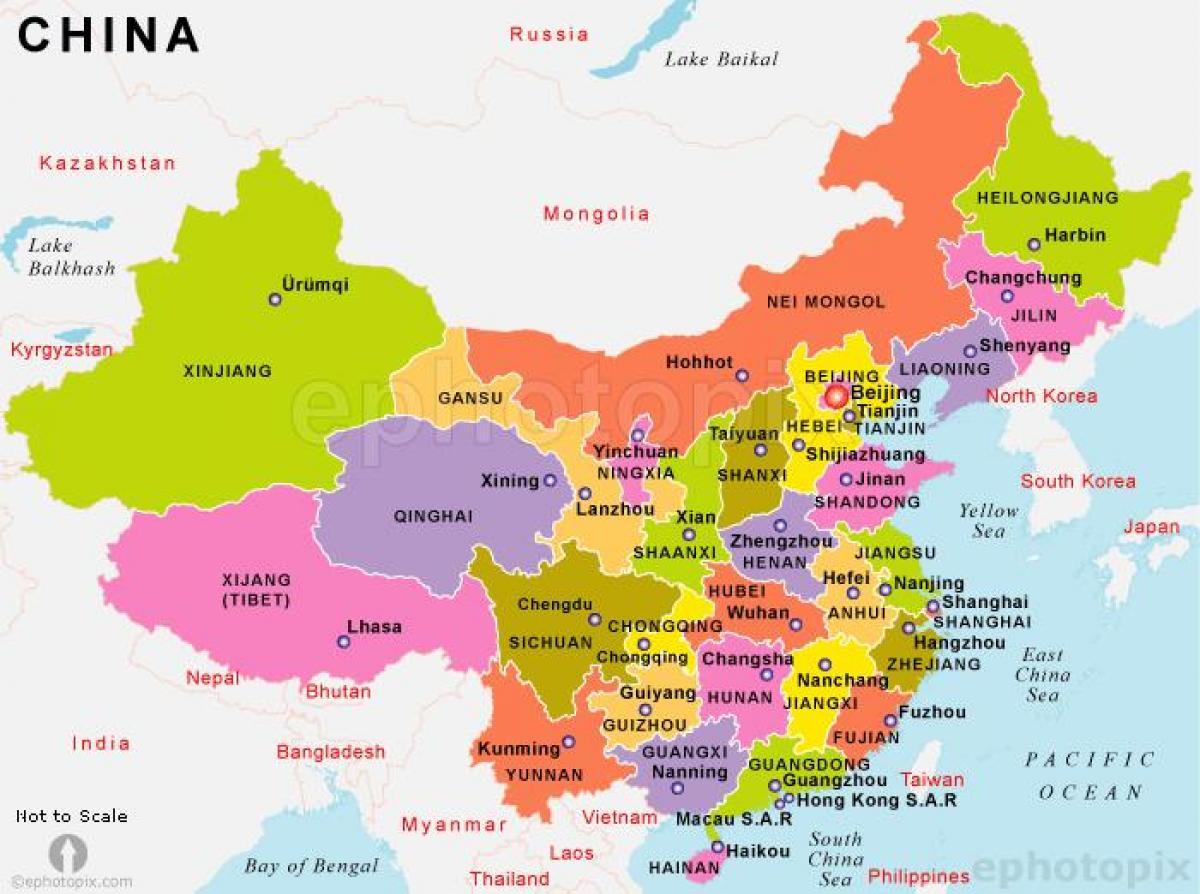 kina kart Kina sier kart   Kina kart med land fra Øst Asia   Asia) kina kart